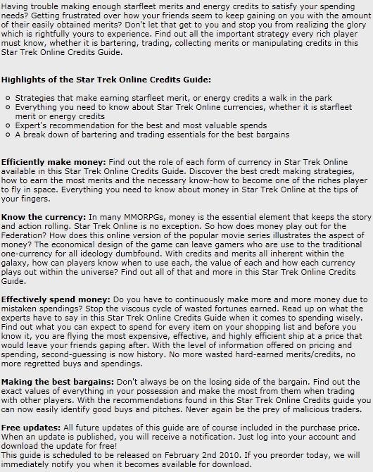 Star Trek Online Credits Guide